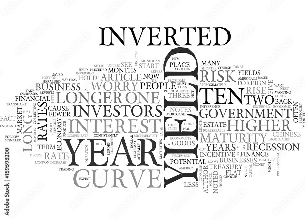 Fototapeta WORRIED ABOUT THE INVERTED YIELD CURVE TEXT WORD CLOUD CONCEPT