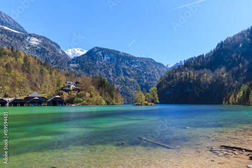 Tuinposter Alpen Lake Koenigssee in Bavaria with mountains and forest