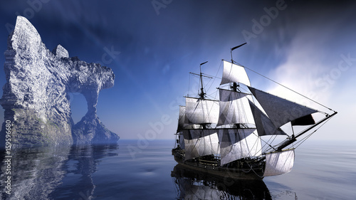 statek-piratow-na-spokojnym-morzu-na-tle-lodowej-gory-zdjecie-3d
