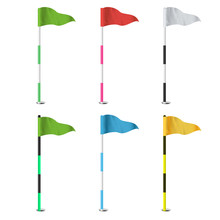 Golf Flags Vector. Realistic F...