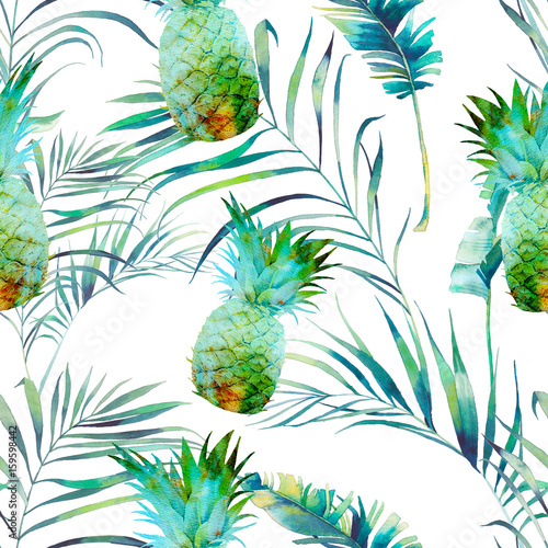 Naklejka dekoracyjna Wakacyjne plamy i liście palmowe na białym tle