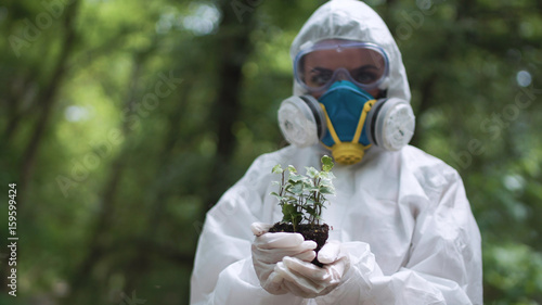 Valokuva  Anonymous person in protective suit holding pile of earth with small sprout in woods