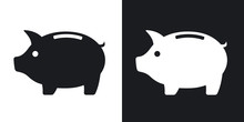 Vector Piggy Bank Icon. Two-to...