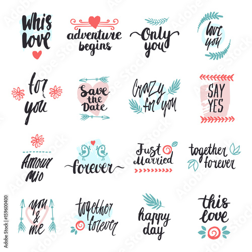 wedding phrases, words of love   Buy this stock vector and explore