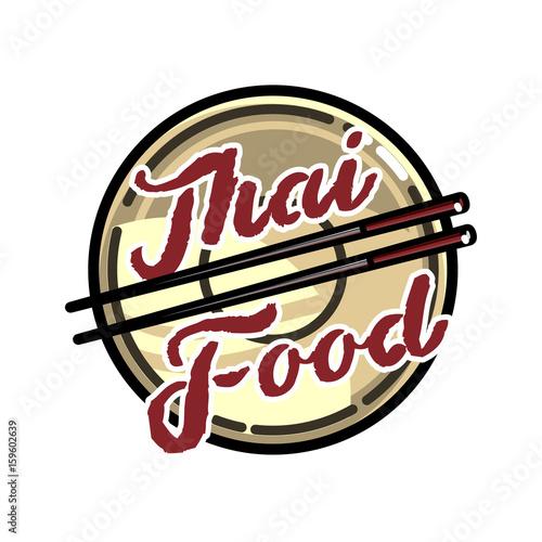 Color vintage thai food emblem