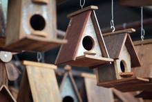 Wooden Bird House As Background