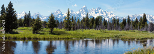 Staande foto Chocoladebruin Grand Tetons and reflection