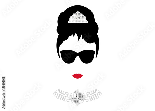Fotografie, Tablou  portrait retrò woman, diva with Pearl jewelry and black glasses , minimal Audrey