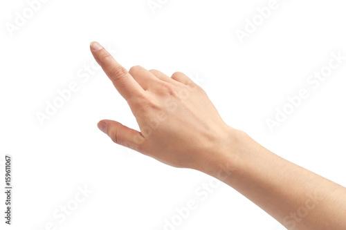 Fényképezés Beautiful female hand pionting gesture