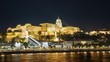 Night Budapest and the Royal Palace in the background. Timelapse