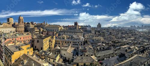 genoa town cityscape panorama from the sea harbor Obraz na płótnie