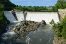 Essex Junction Dam On Winooski River In Essex Junction Village, Vermont, USA.