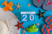 July 20th. Image Of July 20 Calendar With Summer Beach Accessories And Traveler Outfit On Background. Summer Day, Vacation Concept