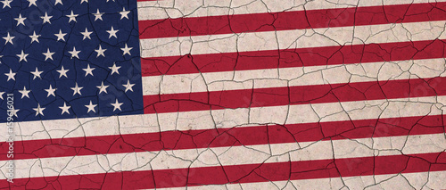 Fotografie, Tablou United states flag cracked down