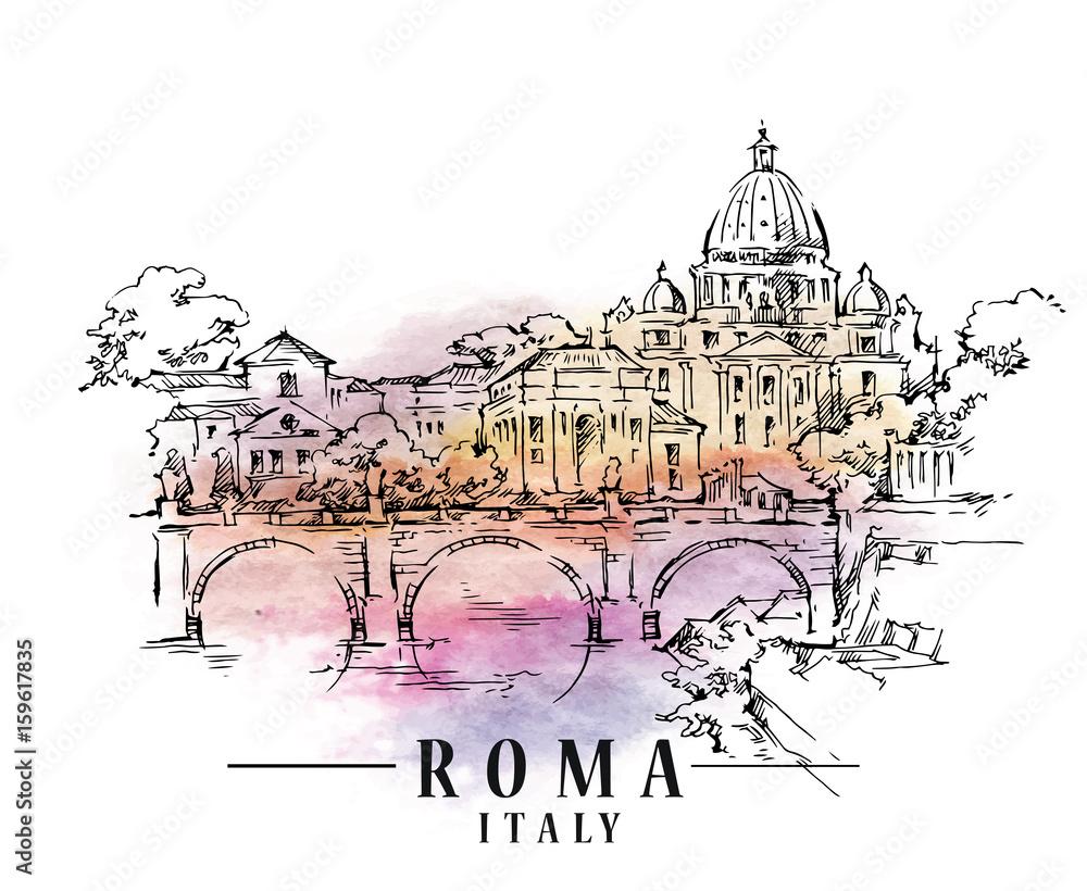 Szkic Roma. Ilustracja kapitału włoskiego. <span>plik: #159617835 | autor: 21021021</span>