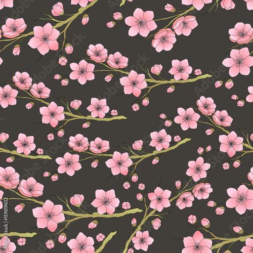 Cotton fabric Seamless background pattern of pink Sakura blossom or Japanese flowering cherry. Vector illustration