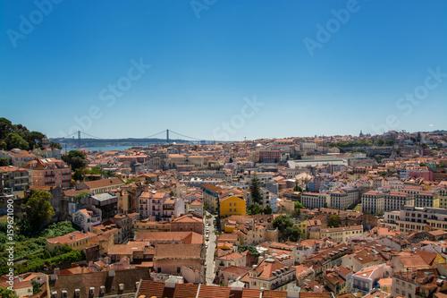 Plakat widok z Lizbony Portugalii.