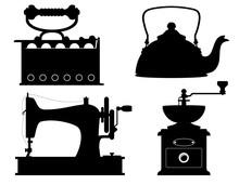 Domestic Appliances Old Retro Vintage Set Icons Stock Vector Illustration