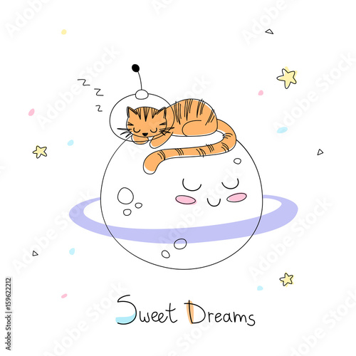 Nursery Art Cute Little Hand Drawn Tiger In A Space Suite Sleep On