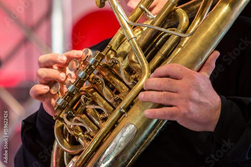 Spoed Fotobehang Muziek Playing wind instrument on concert