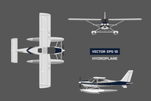 Plane In A Flat Style On A Gray Background. Cargo Aircraft. Industrial Drawing Of Hydroplane. Top, Front And Side View