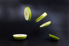 Levitated Green Apple Slices