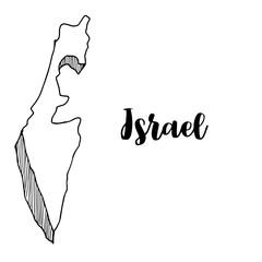 Hand drawn of Israel map, vector illustration