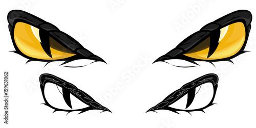 Canvas Print evil yellow snake eyes vector illustration