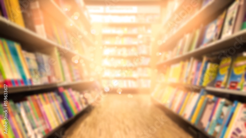 Photographie Abstract blurred bookstore background
