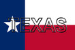 Flag of Texas with the state written on the flag