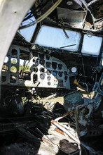 Inside A Derelict Cockpit Of A...