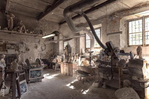 Old workshop of a master of alabaster artwork Wallpaper Mural