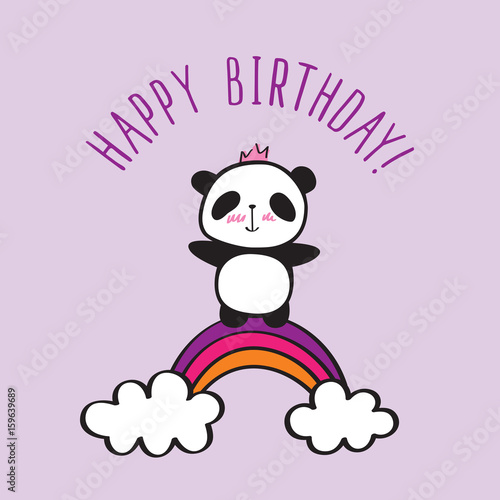 Happy Birthday Card Hand Drawn Panda With Rainbow For Your Design