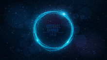 Rotating Banner Of Neon, Glowing Blue Lines Against The Background Of The Starry Sky. Flying Particles. Space Pattern For The Project. Big And Fantastic Galaxy. Vector Illustration