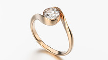 3D Illustration Rose Gold Ring Bypass With Diamond