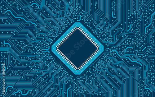 Fotografie, Obraz Computer Platine Vektor blauer Hintergrund