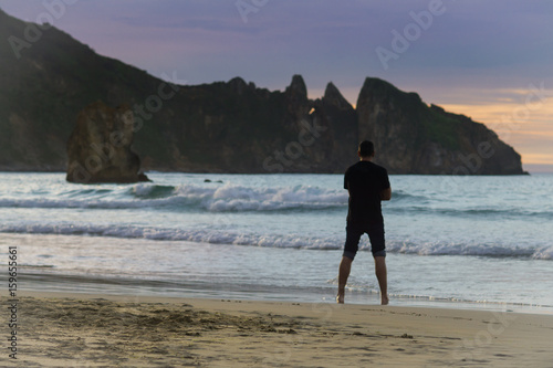 Beautiful beach in the north of Spain, nature of Asturias in warm summer evening Poster