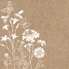 Floral Background With Meadow Flowers, Butterflies And Bees. Vector Illustration On A Kraft Paper With  Place For Text. Invitation, Greeting Card Or An Element For Your Design.