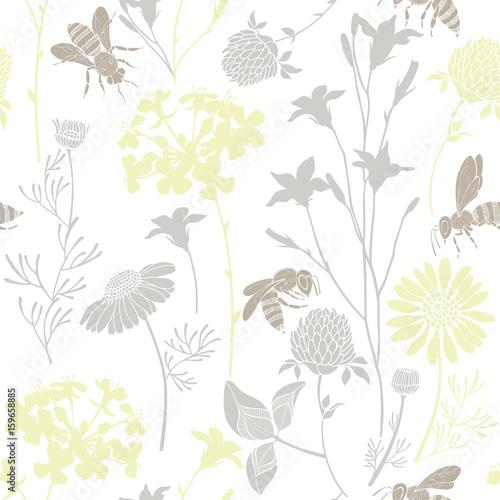 Wzór z dzikich kwiatów i pszczół. Wektorowa ilustracja z lato łąką.