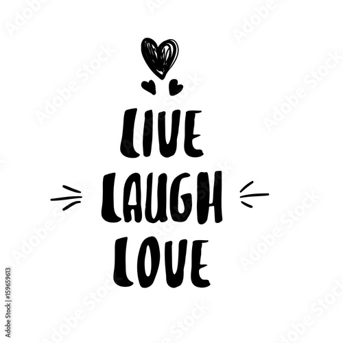 Photo  Live laugh love hand drawn design element handwritten modern lettering
