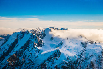 A Wide Panorama of Snowy Mountains, Southern Alps located in south island, in New Zealand