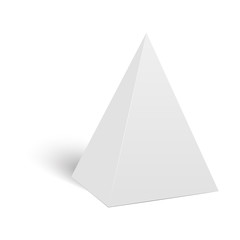 White cardboard pyramid triangle box packaging for food, gift or other products. Vector