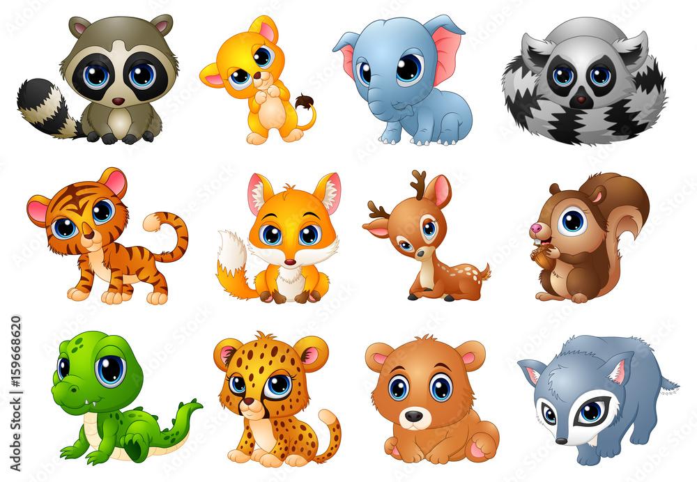 Cute Animals cartoon set
