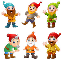 Set Of Cartoon Happy Dwarf