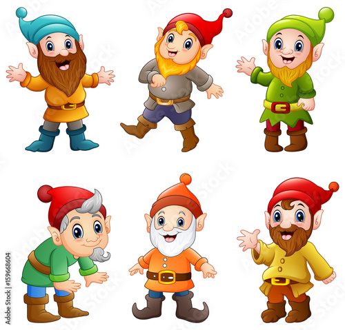 Photo Set of cartoon happy dwarf
