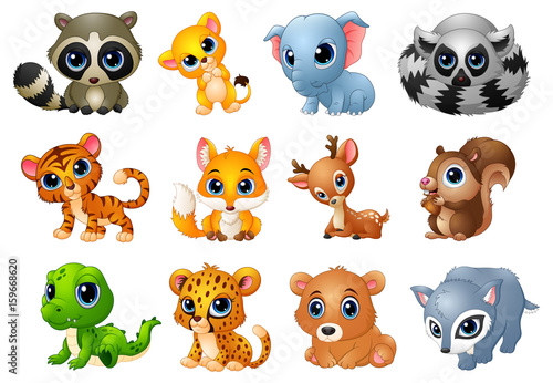 Cute Animals cartoon set
