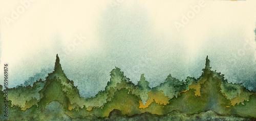 Oryginalny obraz akwarelowy pagórków i gór w kolorze zielonym i niebieskim.