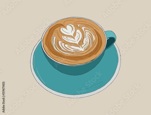 Fotografie, Obraz  hot cappucino coffee with latte art , sketch vector.