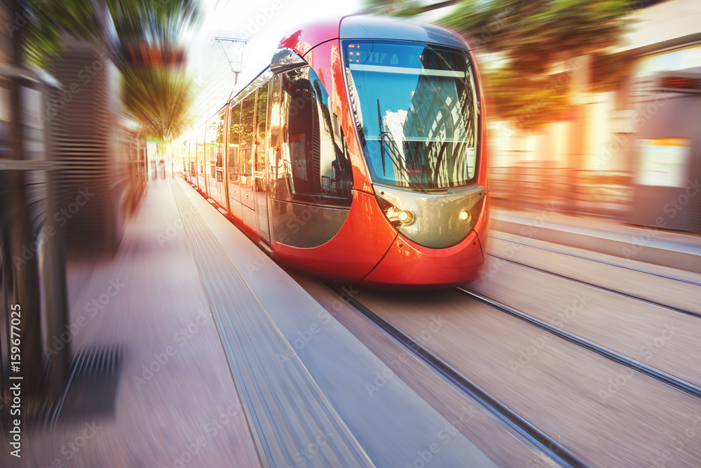Fototapety, obrazy: a fast moving tram in the streets of casablanca