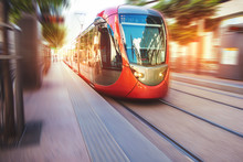 A Fast Moving Tram In The Stre...